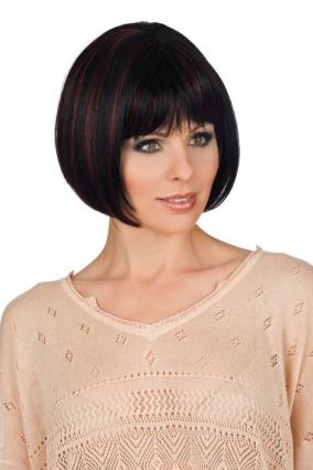 Parrucca_donna_New_Style_530_in_capello_sintetico_corto_colore_nero_mechato_rosso_tessitura_venditaparrucche_vendita_parrucche